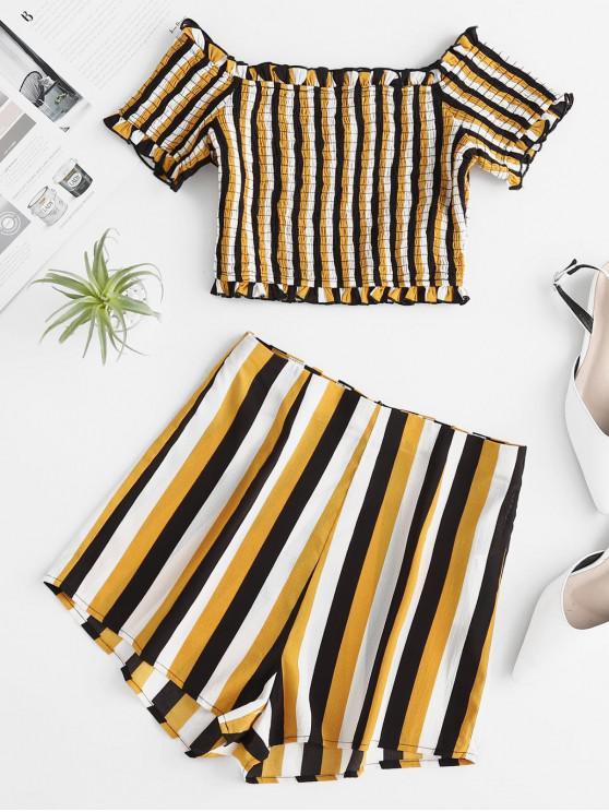 sale ZAFUL Off Shoulder Smocked Striped Top And Shorts Set - MULTI S