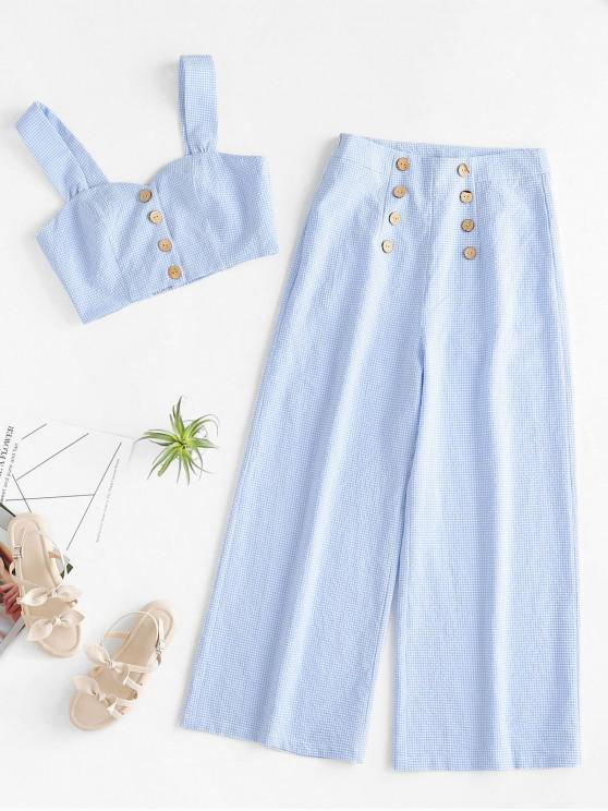 outfit ZAFUL Buttoned Gingham Crop Top and Wide Leg Pants Set - LIGHT BLUE L