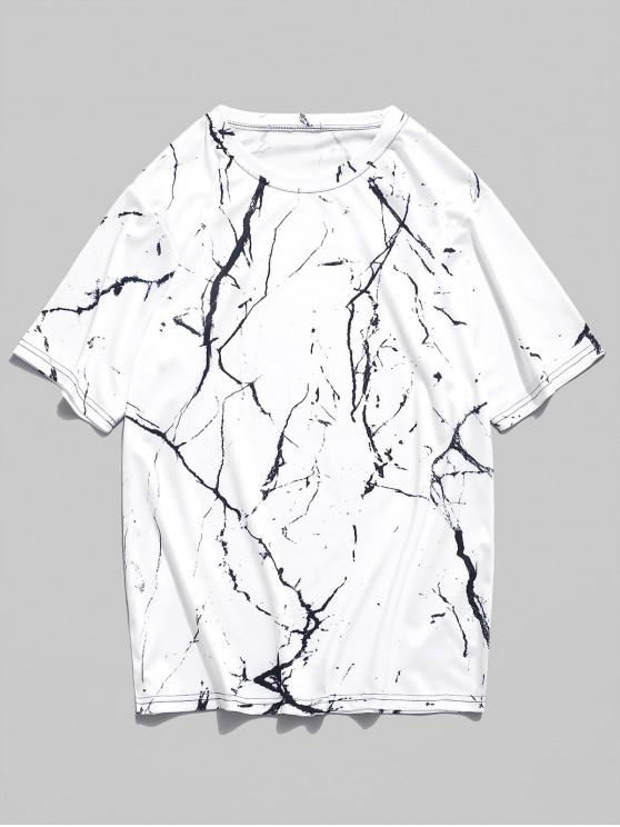 latest Marble Grain Print Short Sleeves T-shirt - NATURAL WHITE L