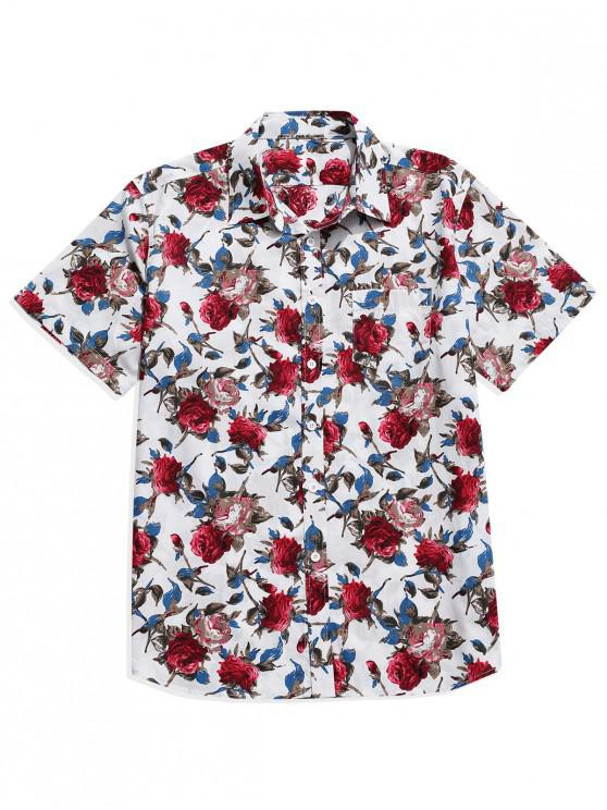 hot Flower Print Button Up Pocket Shirt - WHITE S
