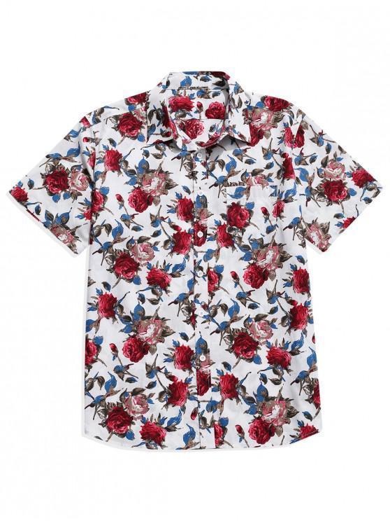 Chemise Boutonnée Fleur Imprimée avec Poche - Blanc 2XL