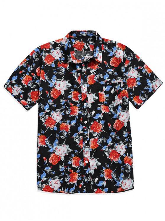 trendy Flower Print Button Up Pocket Shirt - BLACK M