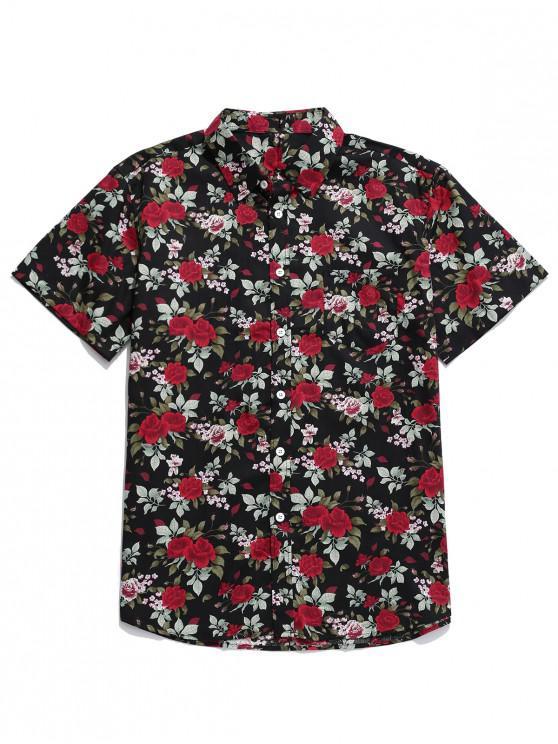 affordable Floral Print Button Up Pocket Shirt - MULTI L