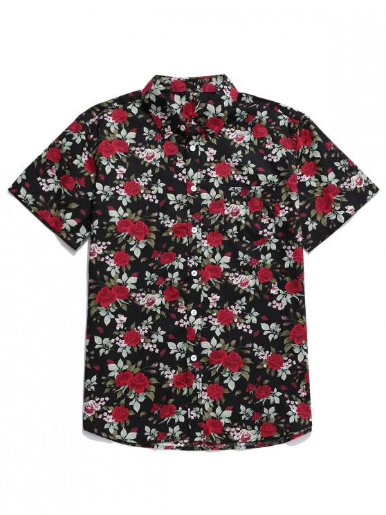 buy Floral Print Button Up Pocket Shirt - MULTI XL