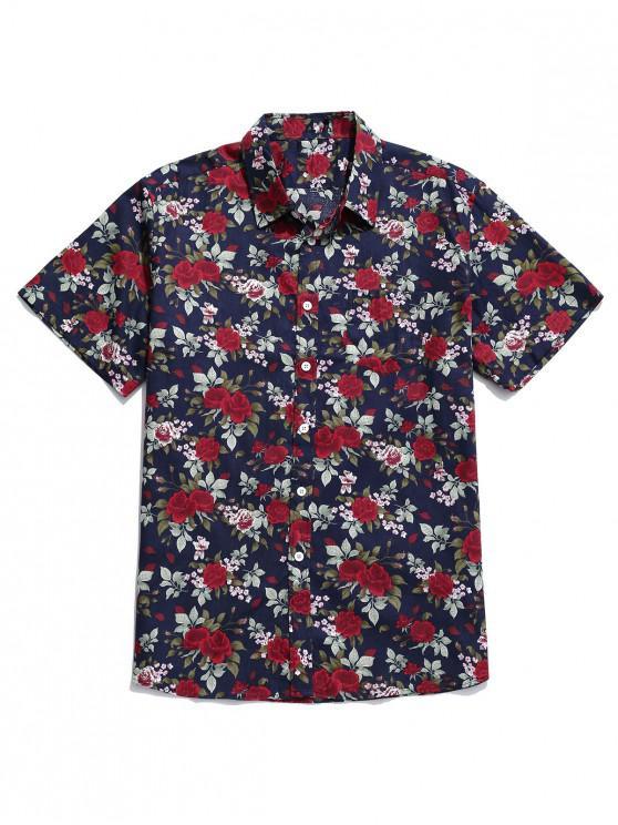 women's Floral Print Button Up Pocket Shirt - MULTI-A M