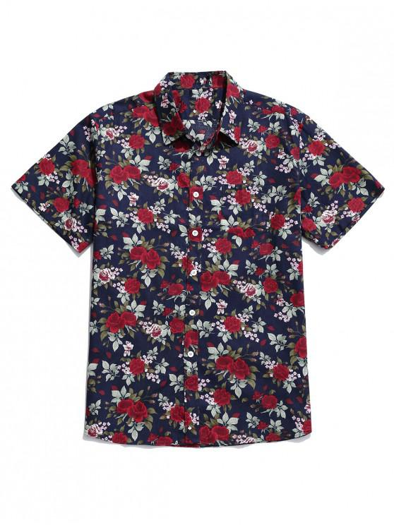 ladies Floral Print Button Up Pocket Shirt - MULTI-A L