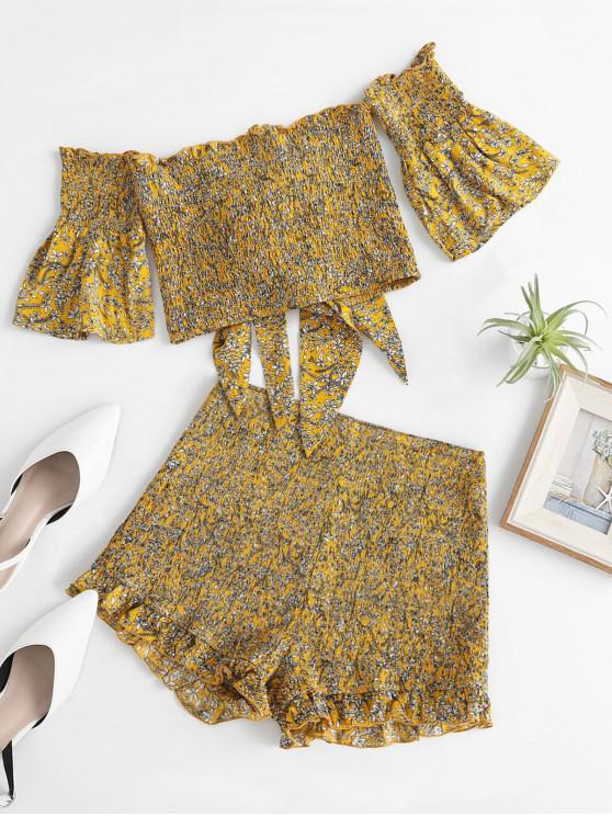 buy ZAFUL Off Shoulder Floral Knotted Smocked Top and Shorts Set - BEE YELLOW S