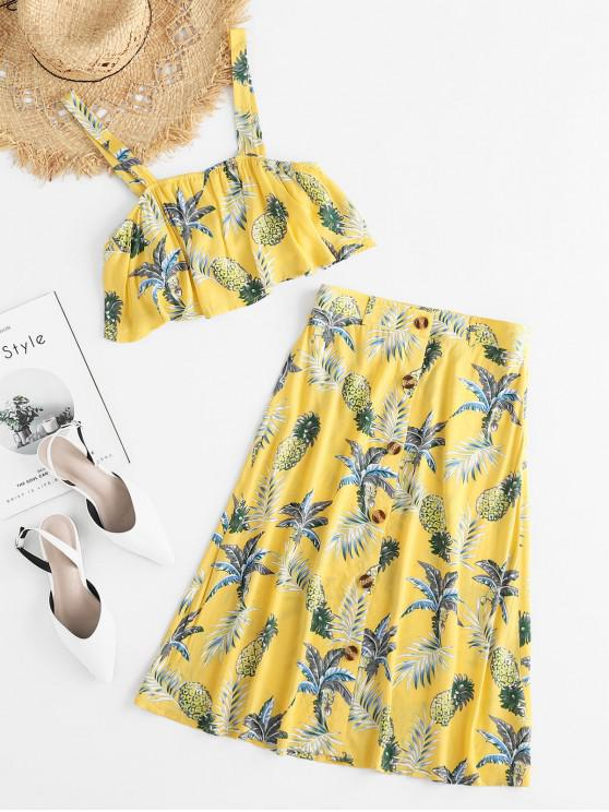 outfit ZAFUL Pineapple Print Two Piece Midi Dress - GOLDENROD M