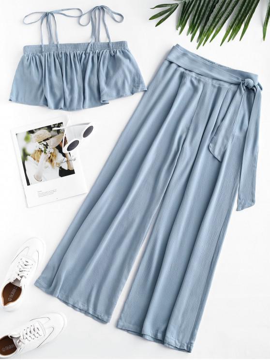 buy ZAFUL Flounce Tie Shoulder Top and Wide Leg Pants Set - LIGHT BLUE S