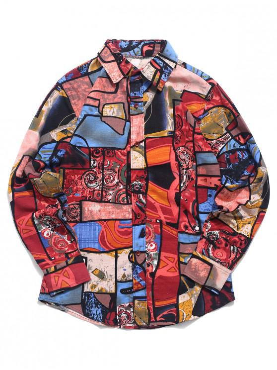 sale Colorful Graphic Painting Print Button Shirt - MULTI-B M