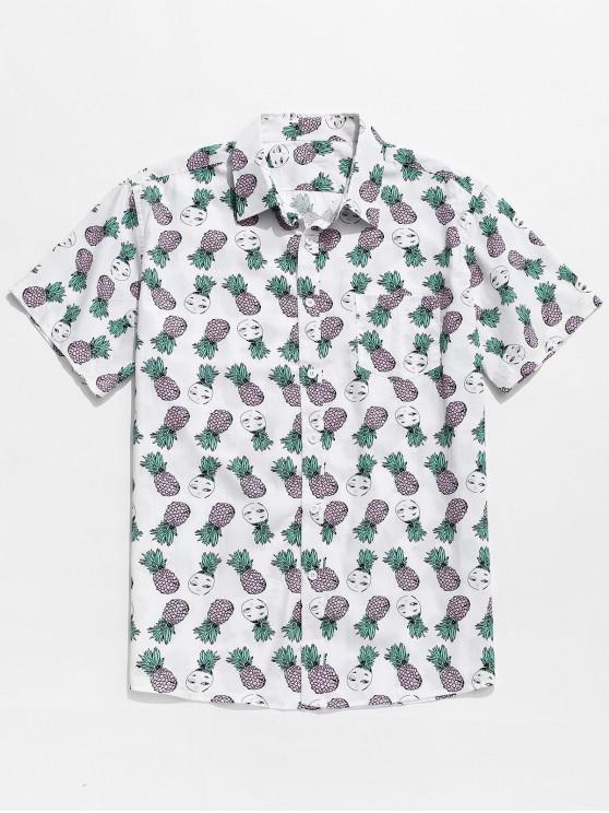 ladies Cartoon Pineapple Print Button Up Pocket Shirt - PIG PINK L