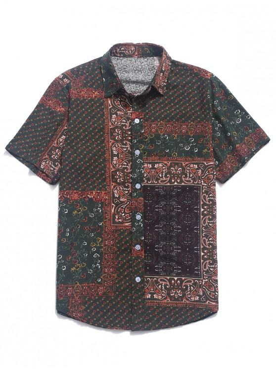 fancy Ethnic Tribal Ditsy Paisley Print Button Shirt - RED DIRT 2XL