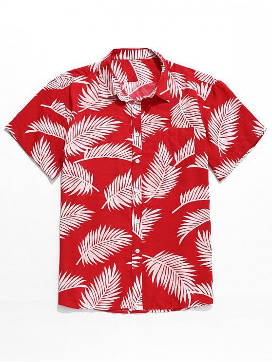 Chemise Hawaïen Feuille Tropicale Imprimée - Rouge Haricot L