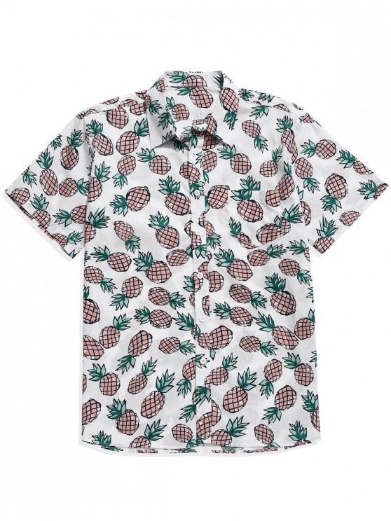 trendy Button Up Allover Pineapple Print Pocket Shirt - MULTI M
