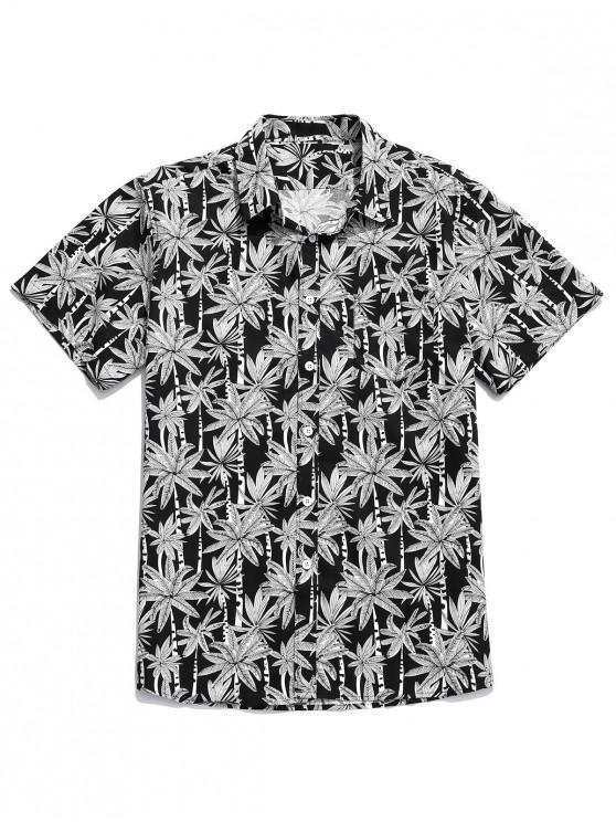 buy Coconut Tree Print Button Up Pocket Shirt - MULTI XL