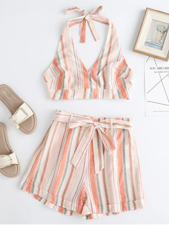 hot ZAFUL Striped Halter Crop Top and Belted Shorts Set - MULTI M