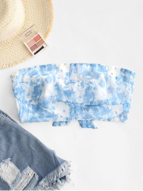affordable ZAFUL Tie Dye Crop Tube Top - SLATE BLUE L