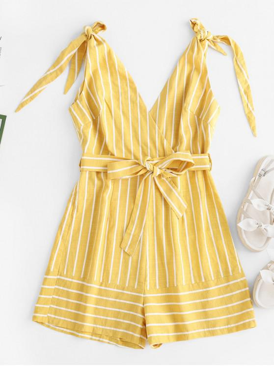 trendy ZAFUL Surplice Striped Tie Shoulder Belted Romper - YELLOW S