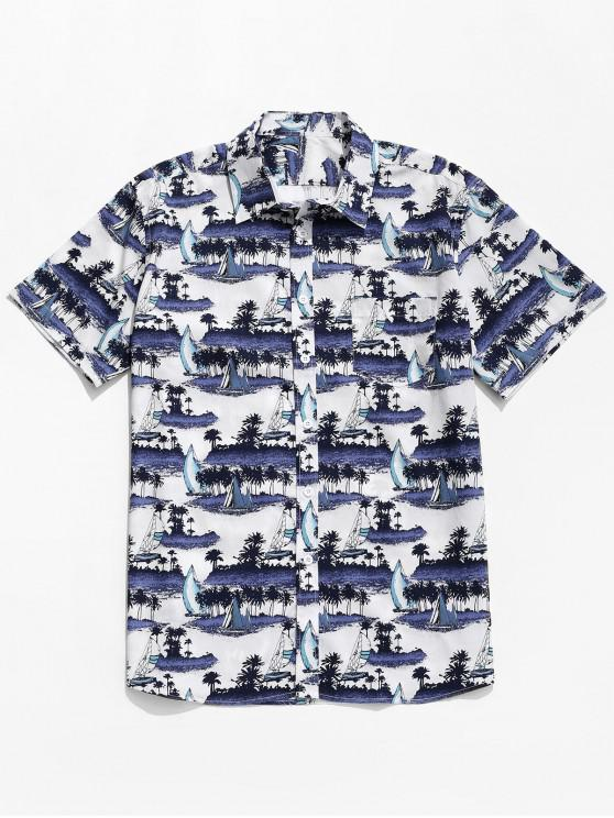 women Cartoon Island Sailboat Print Button Up Shirt - MULTI 2XL