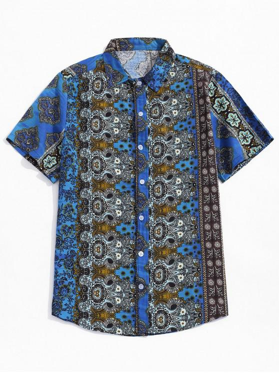 womens Ditsy Ethnic Tribal Print Button Shirt - BLUEBERRY BLUE 2XL