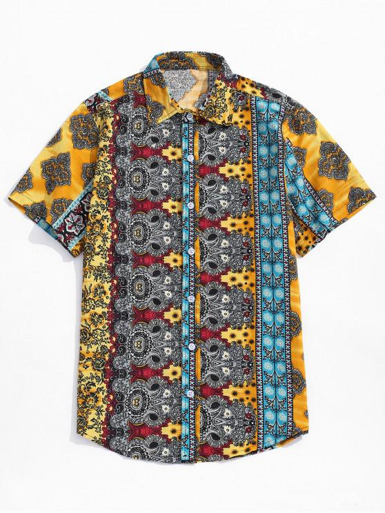 ladies Ditsy Ethnic Tribal Print Button Shirt - GOLDEN BROWN M
