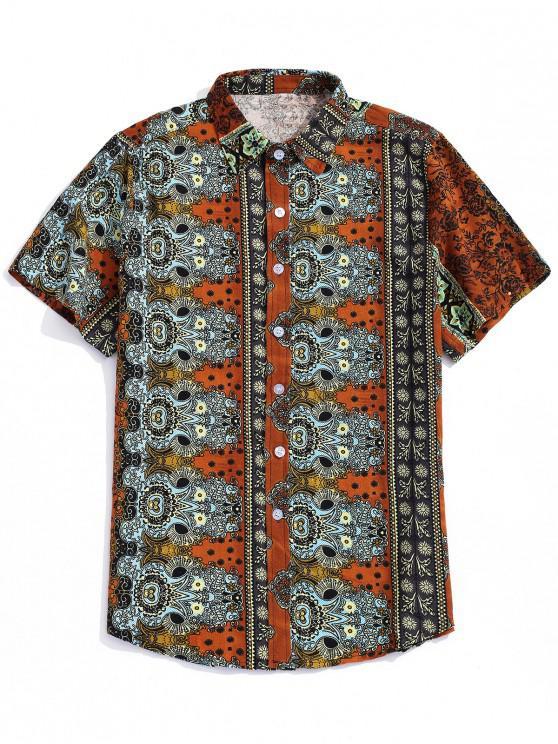 shop Ditsy Ethnic Tribal Print Button Shirt - HALLOWEEN ORANGE XL