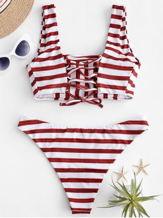 À Lacets Bain Maillot CarrésBlanc L Bikini Zaful De K3lJcF1T