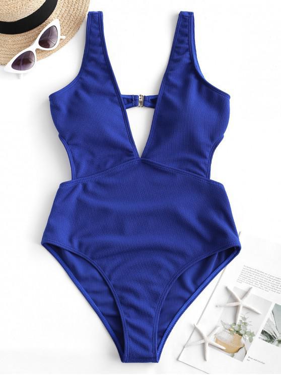 women's ZAFUL Ribbed Plunge Monokini Swimsuit - BLUEBERRY BLUE L