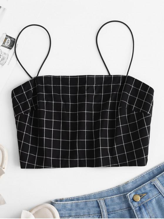 ZAFUL Smocked Checked Cami Top - Negro L
