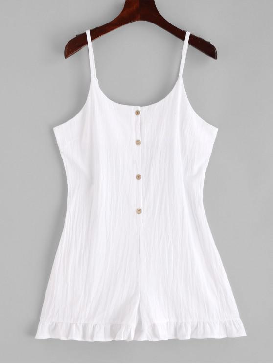 trendy Half Buttoned Ruffles Cami Romper - WHITE XL