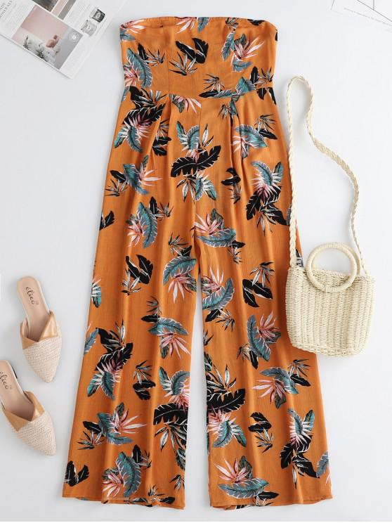 ladies ZAFUL Leaf Print Wide Leg Bandeau Jumpsuit - MULTI S