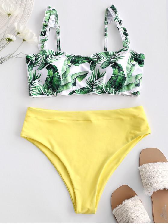 womens ZAFUL Leaf Print Lettuce Trim Bandeau Bikini Swimsuit - YELLOW L