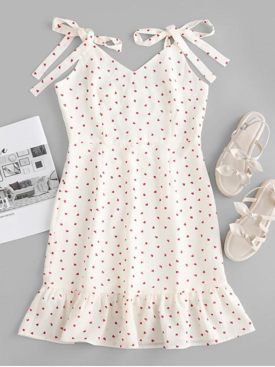 shops ZAFUL Tie Shoulder Flounce Heart Print Mini Dress - WHITE M