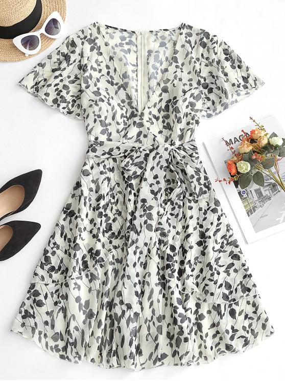 shop V Neck Floral Print Belted Overlap Dress - BLACK XL