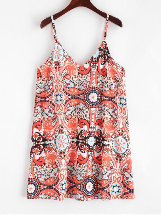 women Cami Printed A Line Mini Dress - MULTI S