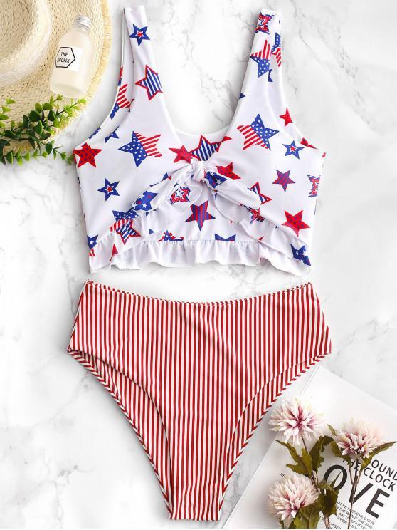 latest ZAFUL Patriotic American Flag Ruffle Tankini Swimsuit - MULTI-B L