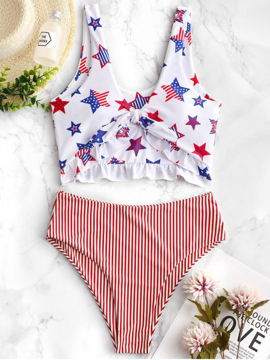 trendy ZAFUL Patriotic American Flag Ruffle Tankini Swimsuit - MULTI-B XL