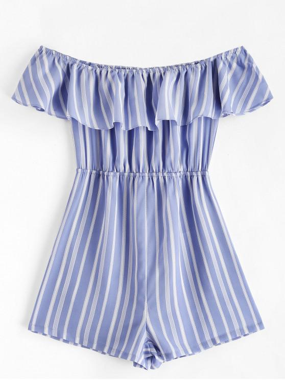 fashion ZAFUL Ruffles Off Shoulder Stripes Romper - LIGHT BLUE S