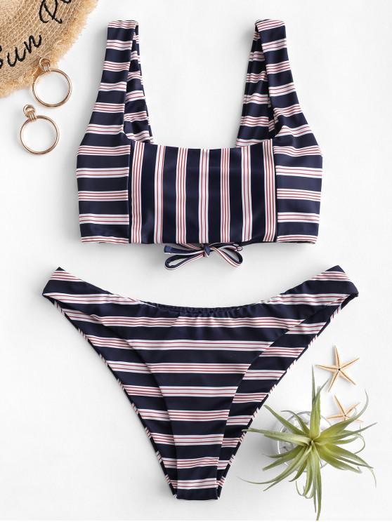 hot ZAFUL Square Lace-up Striped Bikini Swimsuit - DARK SLATE BLUE S
