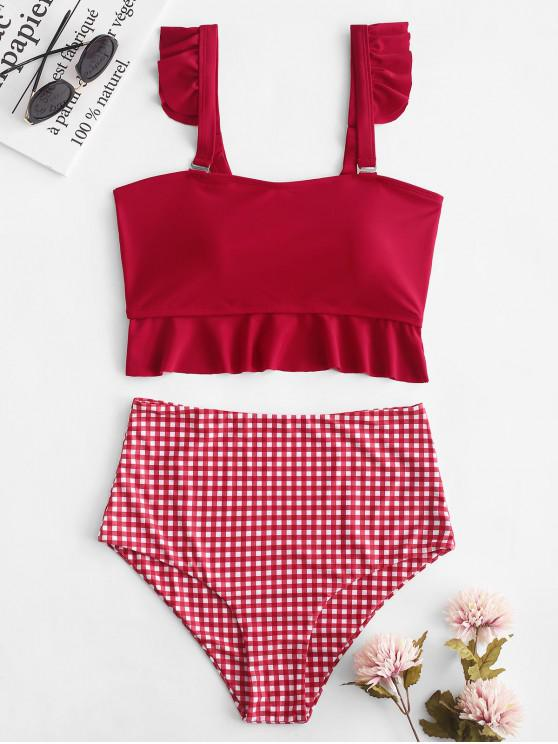 ZAFUL Ensemble de Tankini à Carreaux Taille Haute à Volants - Multi-B XL