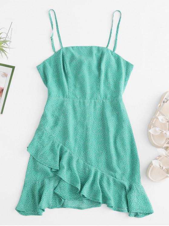 lady ZAFUL Flounce Tie Back Ditsy Print Cami Dress - MACAW BLUE GREEN M
