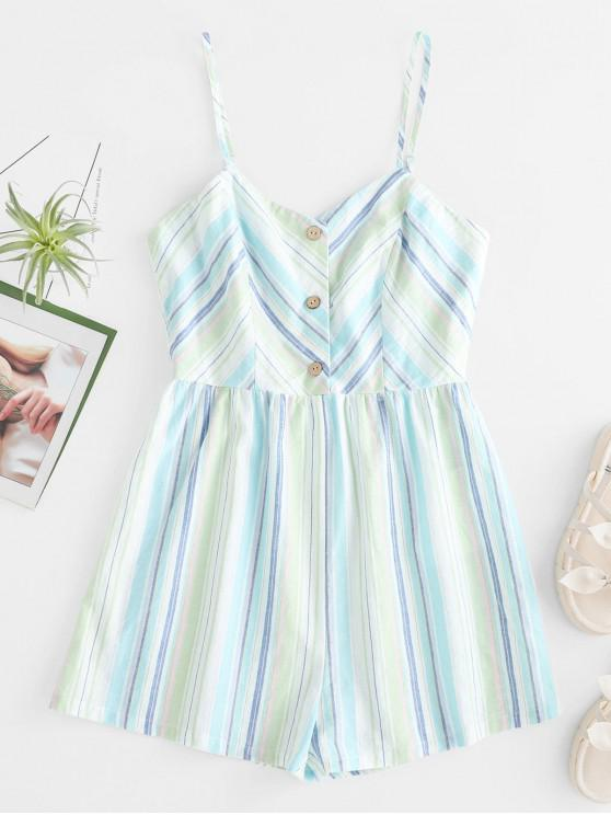 lady ZAFUL Striped Half Button Cami Casual Romper - MULTI S