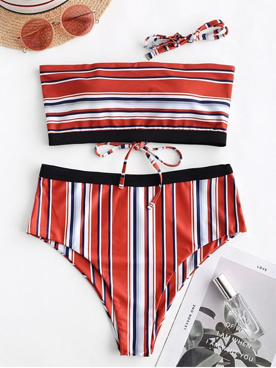 ZAFUL Bikini Bikini Bikini A Rayas Con Cordones - Multicolor-A M
