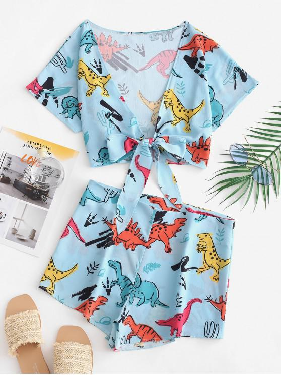 fancy Tie Front Dinosaur Cropped Top And Shorts - MACAW BLUE GREEN S