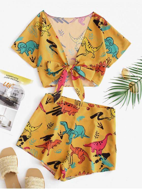 online Tie Front Dinosaur Cropped Top And Shorts - BEE YELLOW L