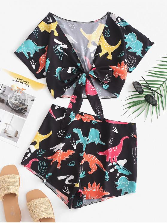 fancy Tie Front Dinosaur Cropped Top And Shorts - BLACK XL