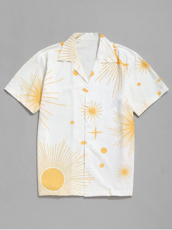 chic Sparkly Sun and Moon Print Short Sleeves Shirt - WHITE S