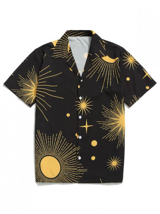 trendy Sparkly Sun and Moon Print Short Sleeves Shirt - BLACK XL