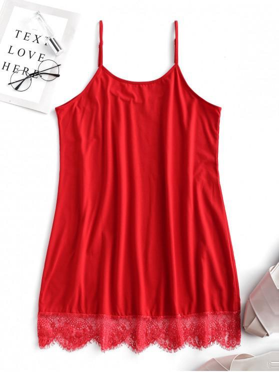 latest Cotton Lace Trim Chemise - LAVA RED L