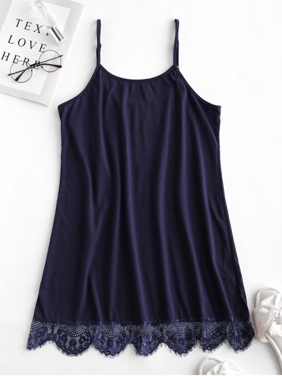 trendy Cotton Lace Trim Chemise - MIDNIGHT BLUE XL